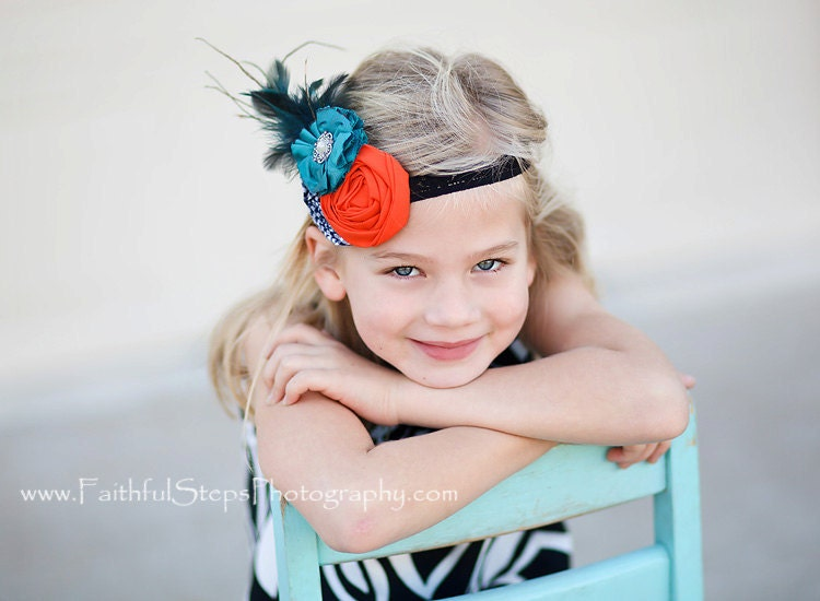 navy blue teal orange flower headband babies toddlers infants girls photo