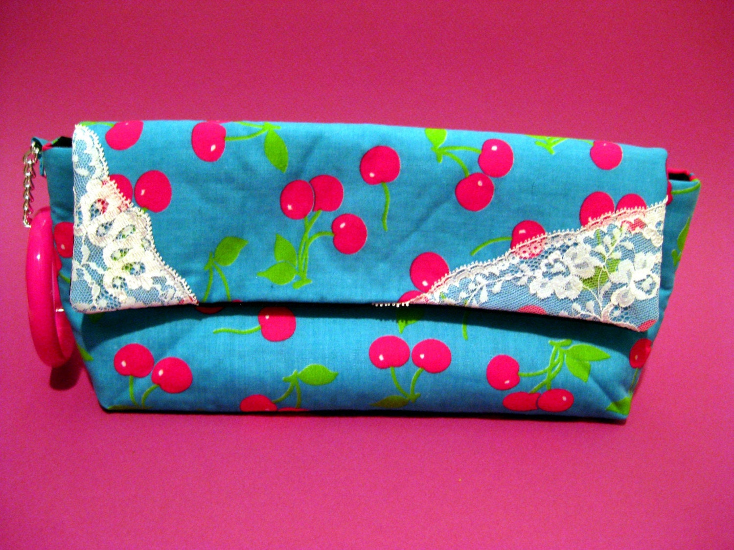 "SALE Bright Cherry Print and Lace ""AA"" Wristlet"