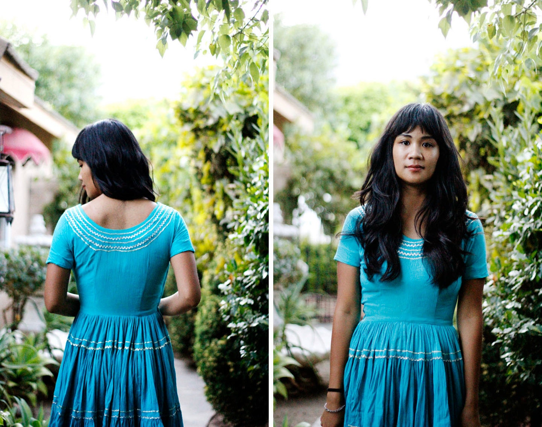 SALE 25% OFF Vintage Turquoise Short Sleeved Dress size S
