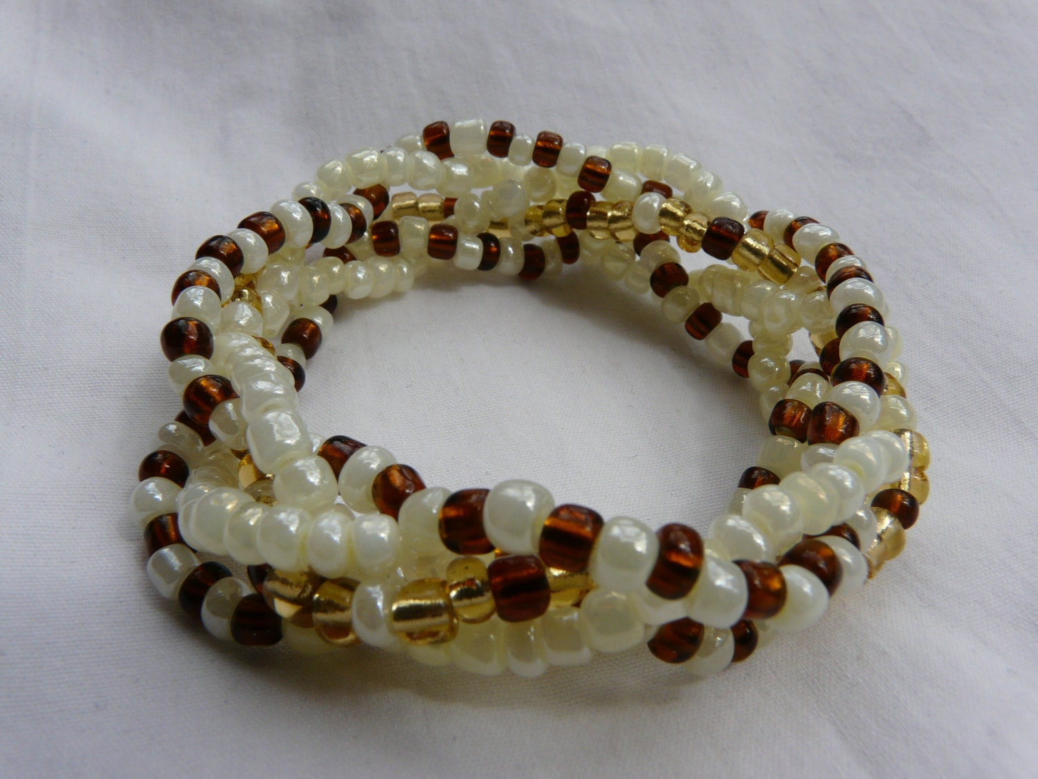 Neutrals 5 Strand Beaded Stretch Bracelet