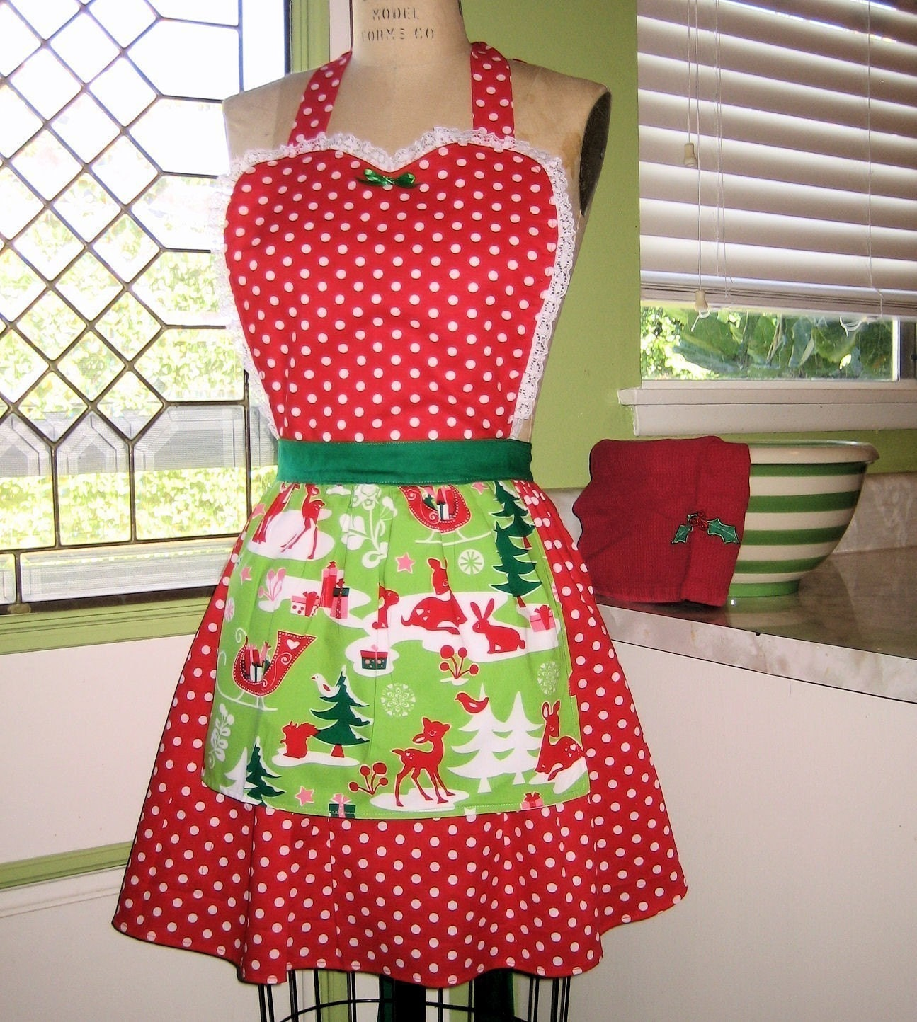 Retro Christmas Apron with DEER print 50s RED polka dots full APRON make a sexy flirty hostess and is vintage inspired