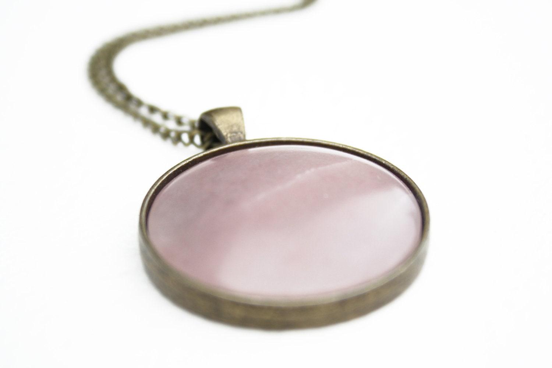 Soapstone Necklace, Hand-Sculpted Pale Pink Pendant Cabochon - LaForetDesGemmes