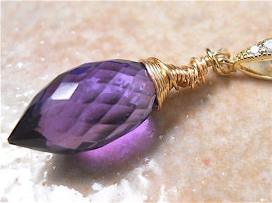 Purple  Amethyst  Necklace , Puffed Marquise Briolette Pendant. February Birthstone, Fashion Jewelry