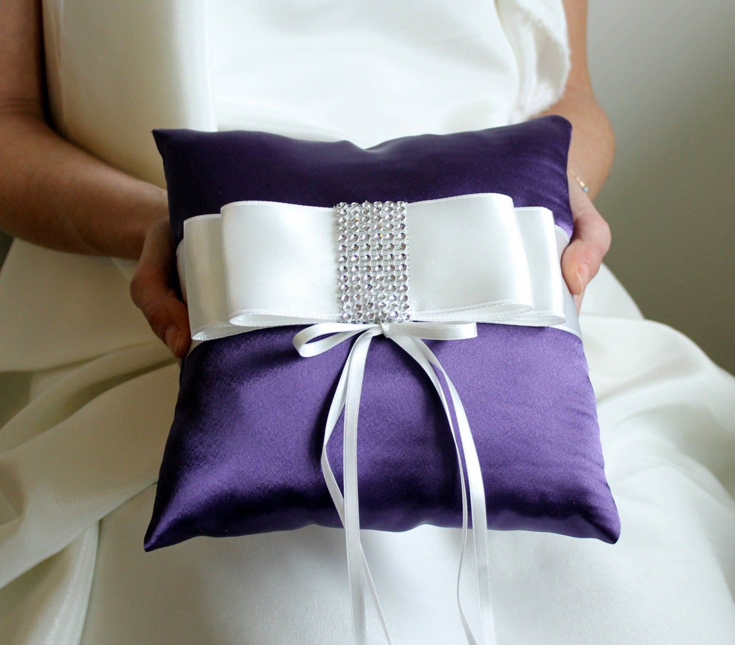 BIG OPENING SALE / Bridal Ring Bearer Pillow - Violet Purple white -Bridal / Bride / Marriage / engagement, wedding, anniversary