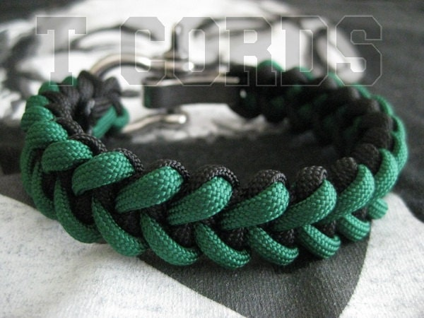 Piranha Paracord Bracelet with Stainless Steel Adjustable Shackle with Custom Colors