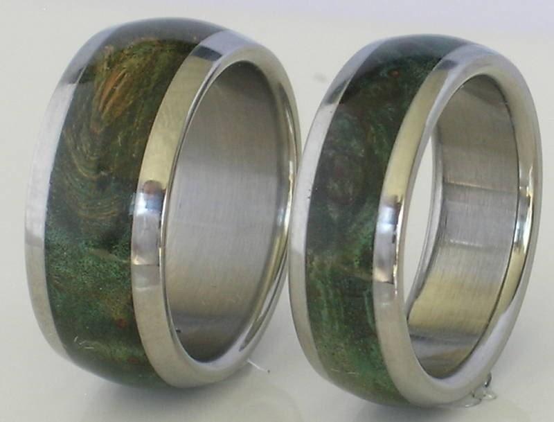 Titanium Wood Band Inlaid with Green Maple Burl Wood Custom Made Wedding