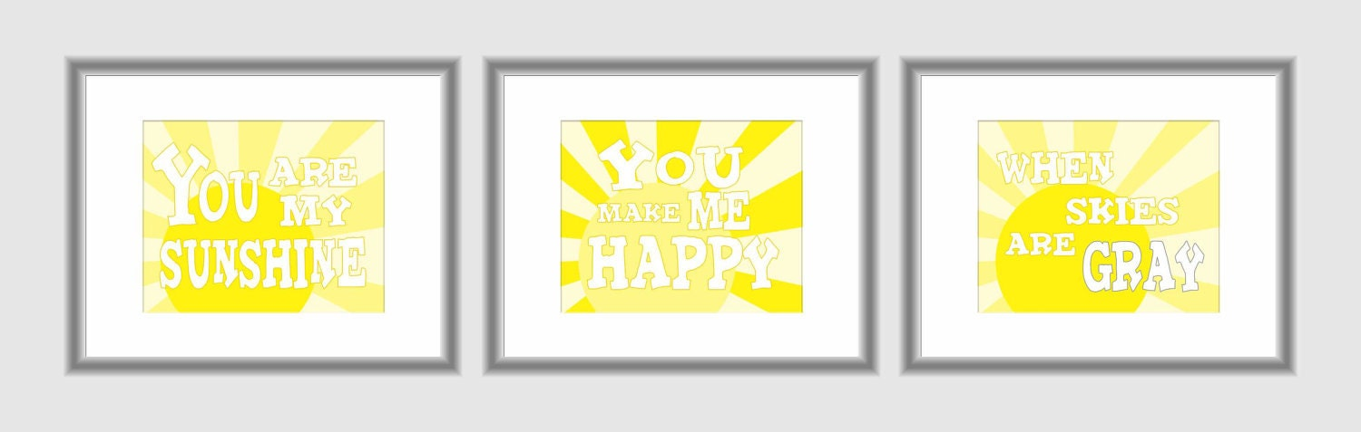 You are My Sunshine Set of 3 8 X 10 Art Print Sunny Yellow - DoodleGraphics