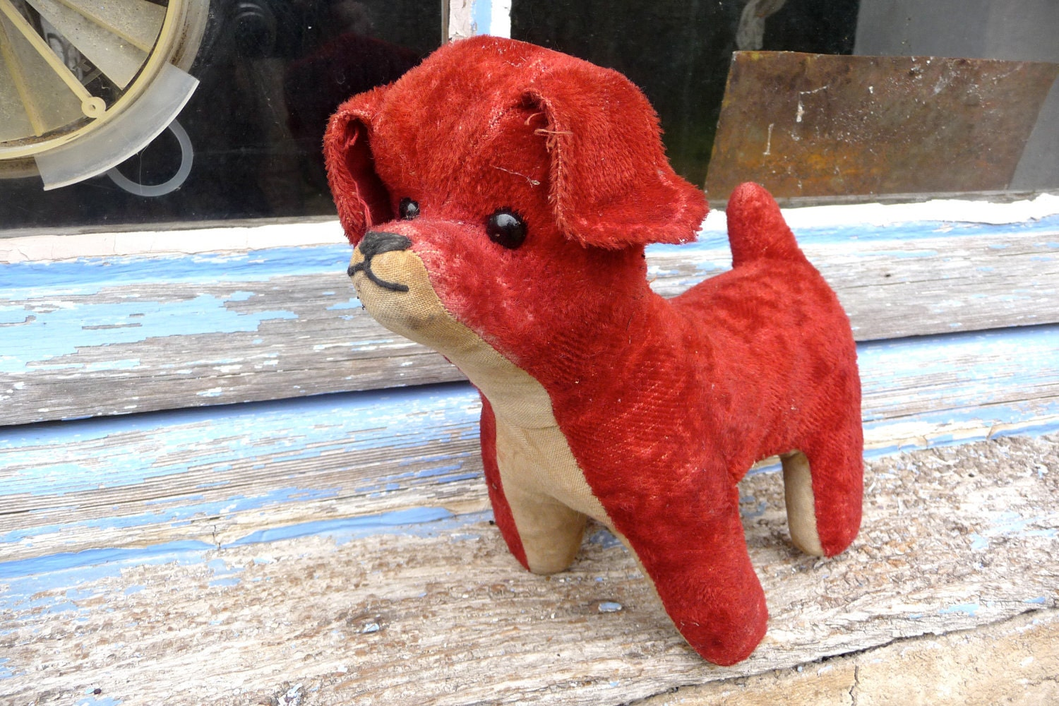 French red dog vintage plush toy