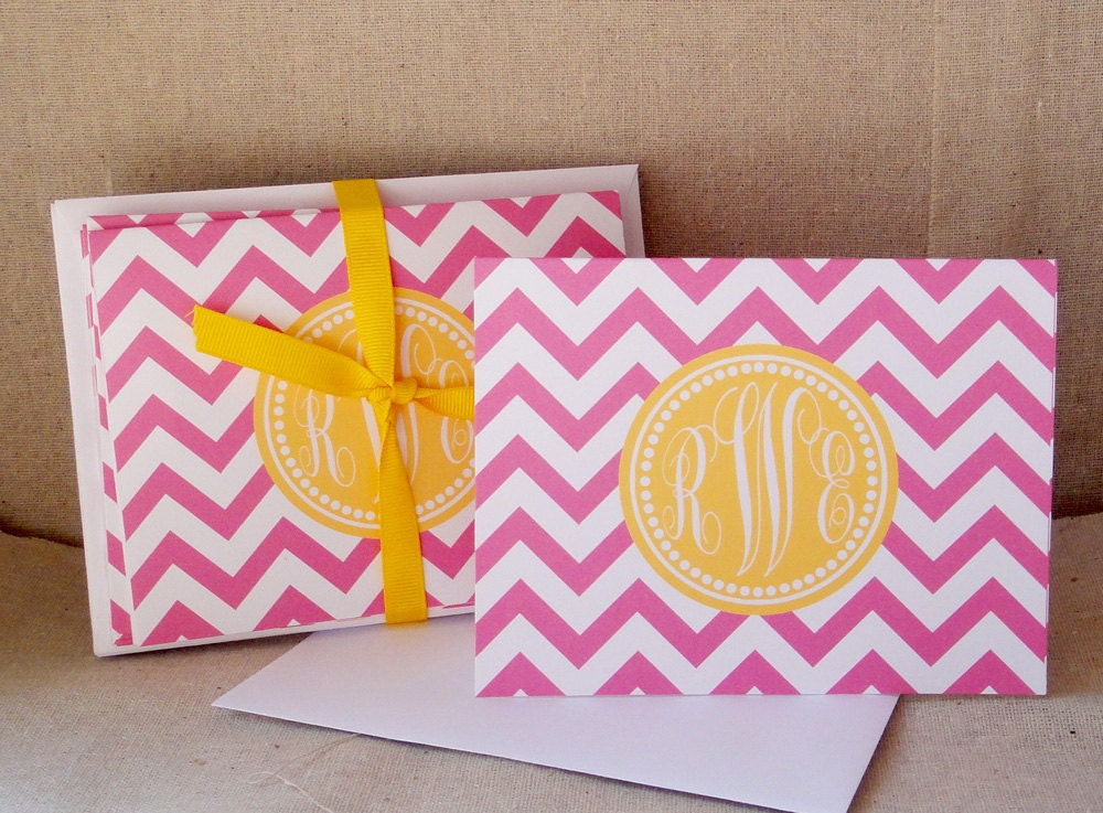 Personalized Stationary - Chevron Notecard in Pink Lemonade