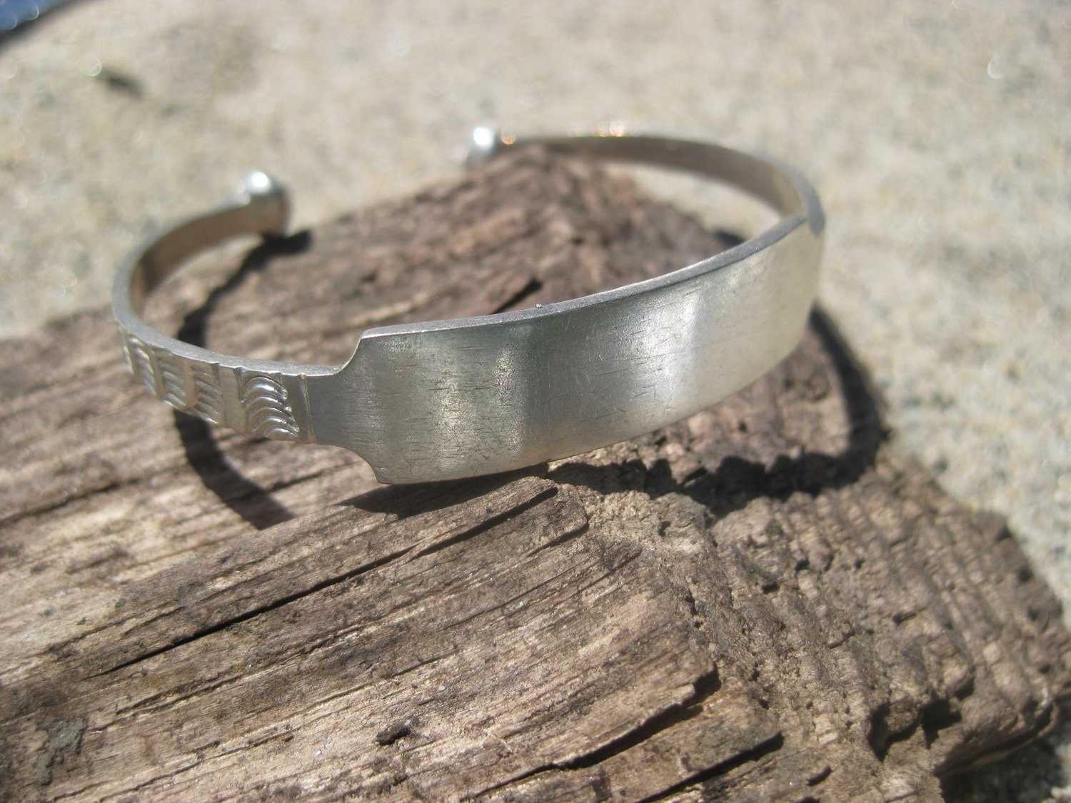 Child's Etched  Silver West-African ID Bracelet