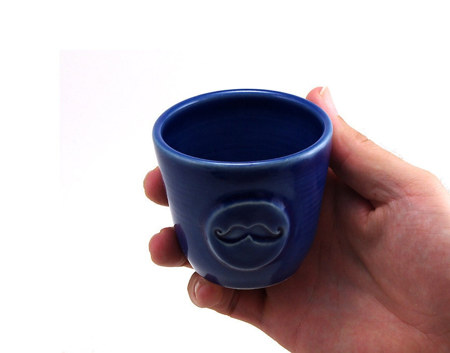 Blue Mustache Cup - MiriHardyPottery