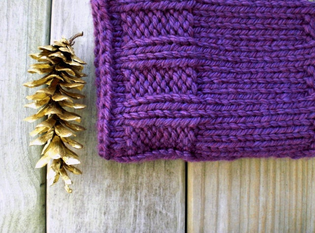 Knitted winter cowl. Royal purple. Urban rustic chic neckwarmer.