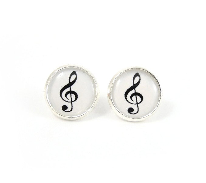 Treble Clef Earring Studs - Music Note Earring Posts - Black White Silver Earrings - MistyAurora