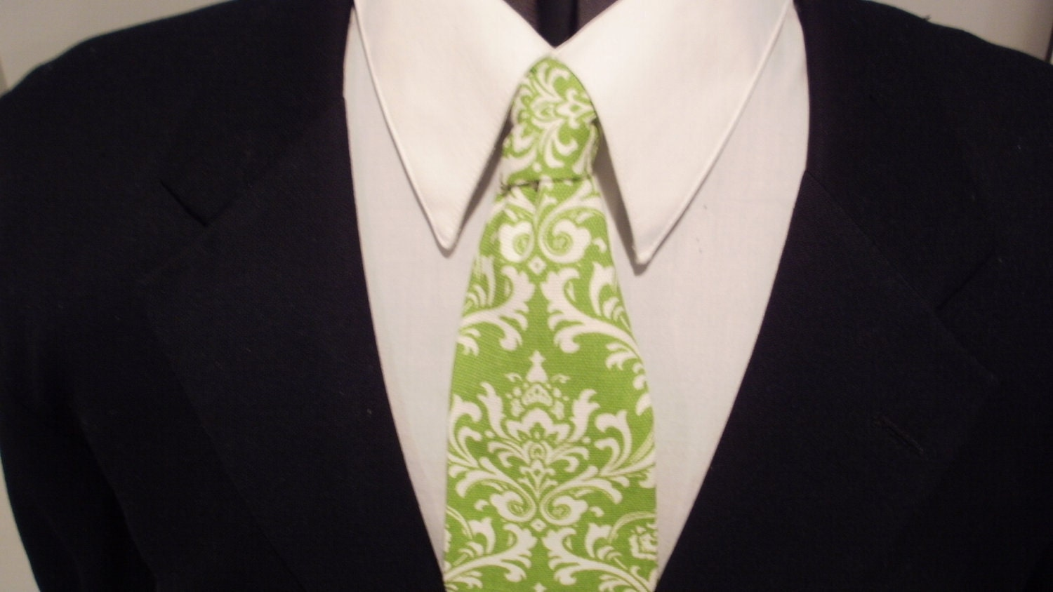 DAMASK LIME NECKTIE Men's  White on Lime Green Chartreuse Wedding Party Madison Neck Tie - FantasyVintageBridal