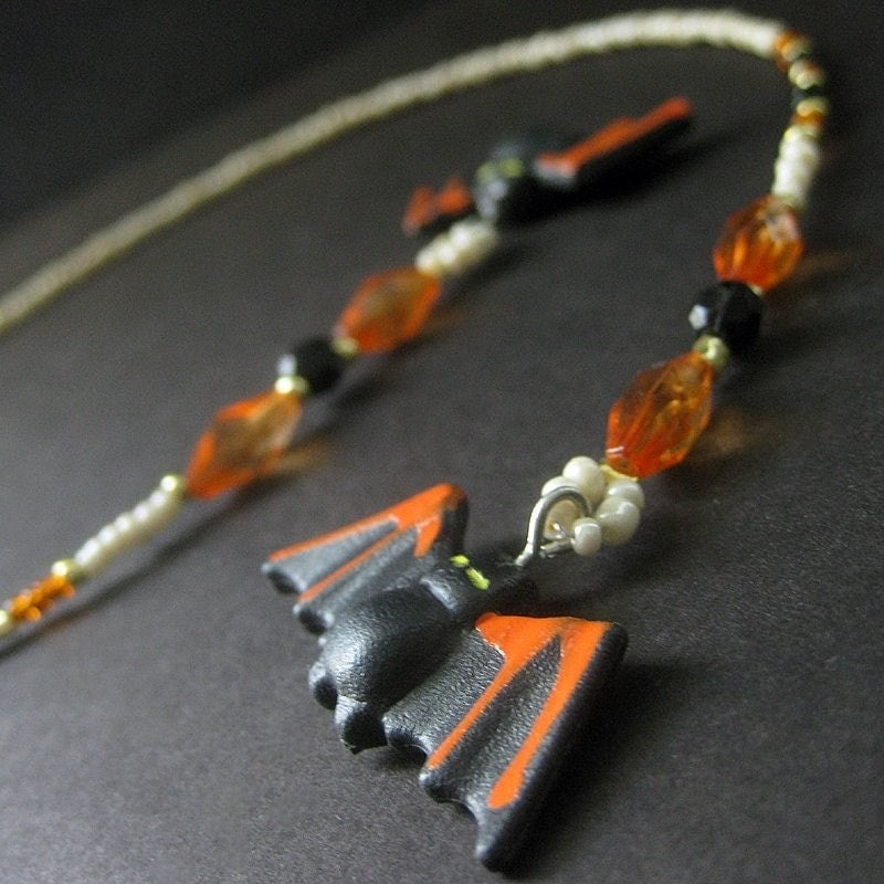 Beaded Halloween Bookmark with Black Vampire Bat Charms