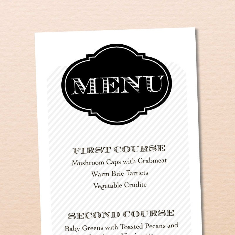 Custom Printable Wedding Menu Elegant Vintage Collection No 12