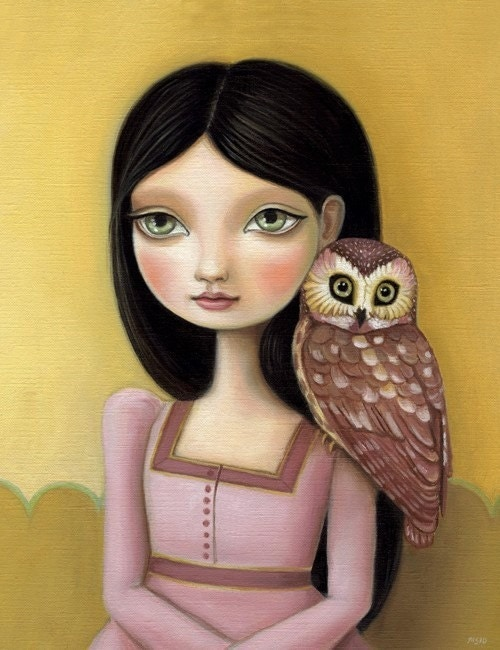 Girl and owl - Evelyn LARGE print 11x14 on premium matte - woodland pop surrealism by Marisol Spoon