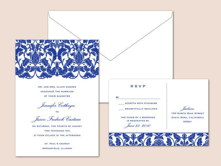 Victorian Digital Wedding Invitation Set 1 color