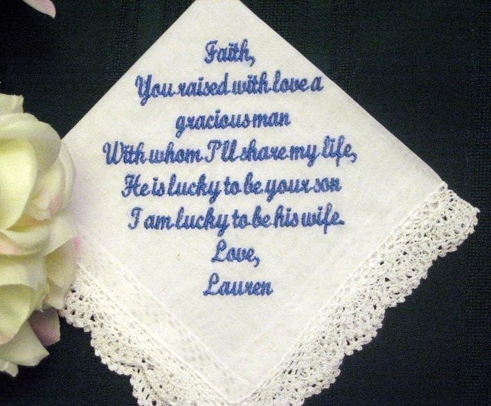 Personalized Wedding Gift Wedding hanky from Bride to Mother of the Groom