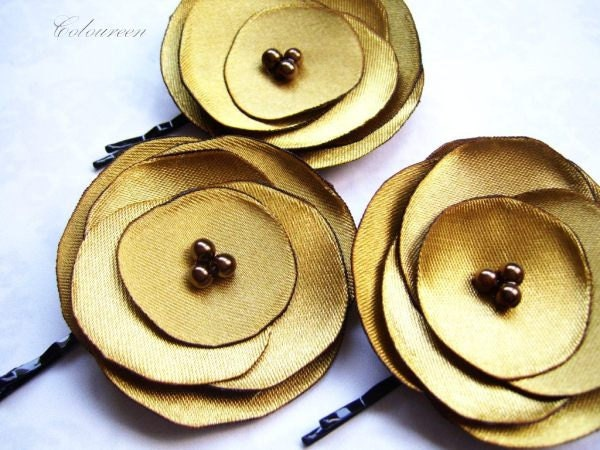 Bobby Pins Mustard Hair Pins Autumn Wedding Fall Wedding Set of 3