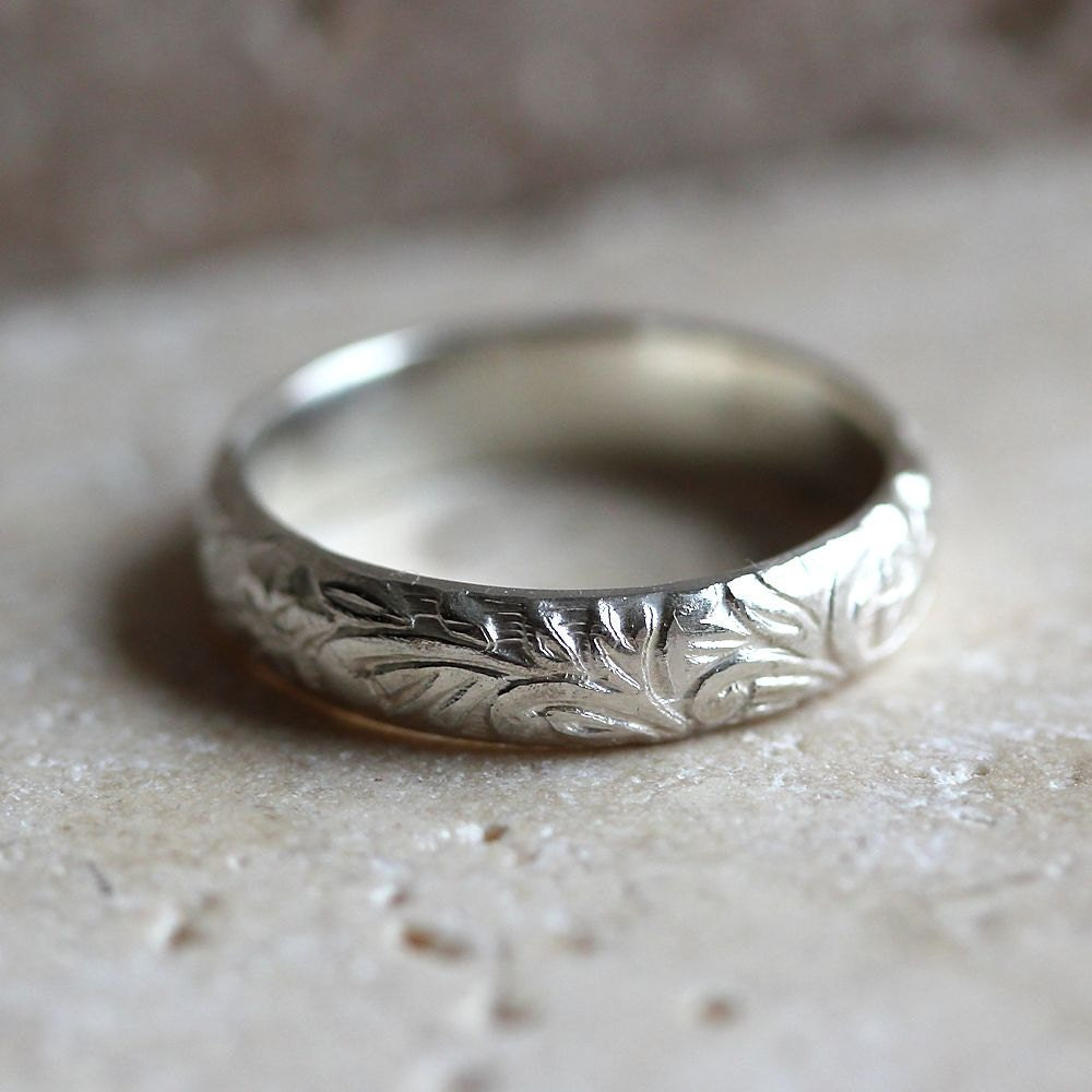 Sterling Silver Ring, Floral Pattern Sterling Silver Band Romantic Spring Fashion  - Made in Your Size - TheSlyFox