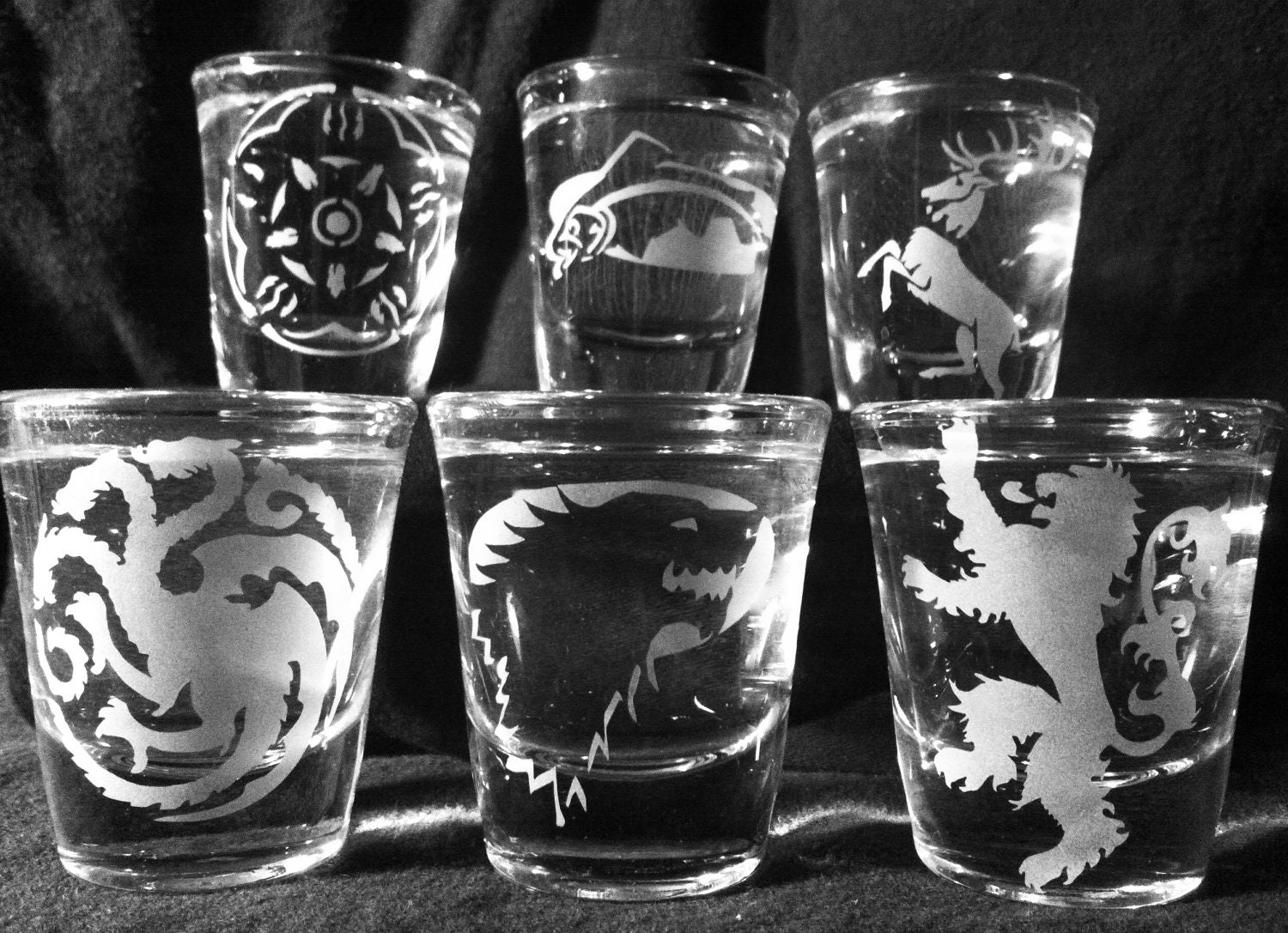 Set of 6 Game of Thrones Sigil Shot Glasses
