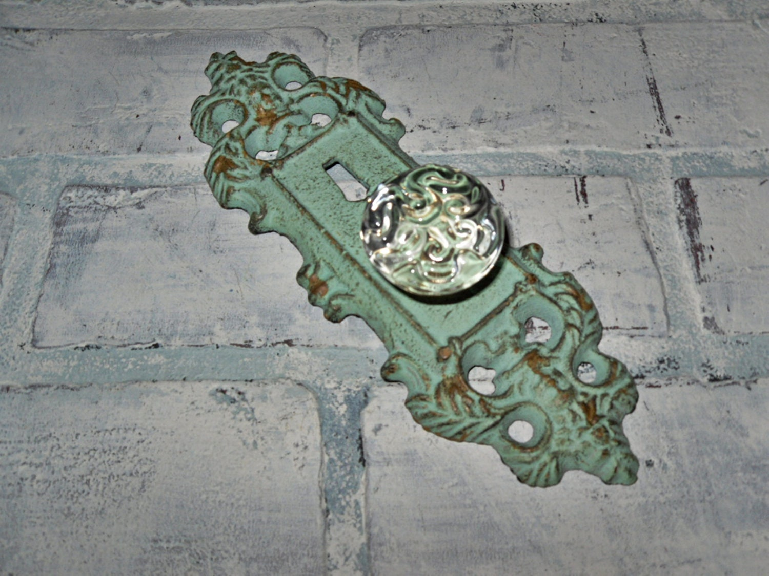 Ornate Decorative Cast Iron Door Plate with Glass by Theshabbyshak