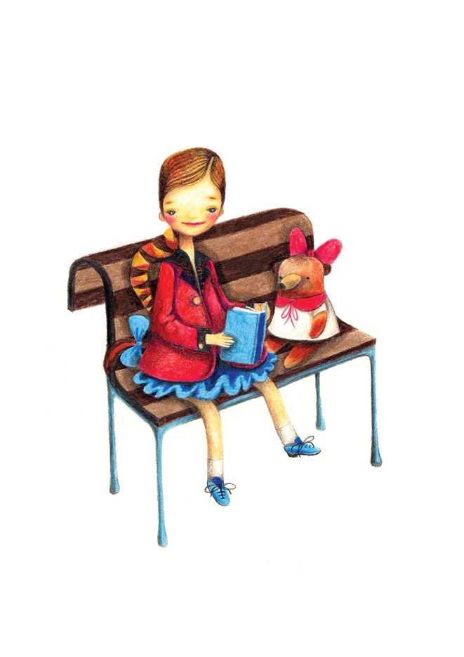 Back to School Children Colored Pencil Drawing Print Illustration Girl Teddy Bench Book - BarbaraSzepesiSzucs