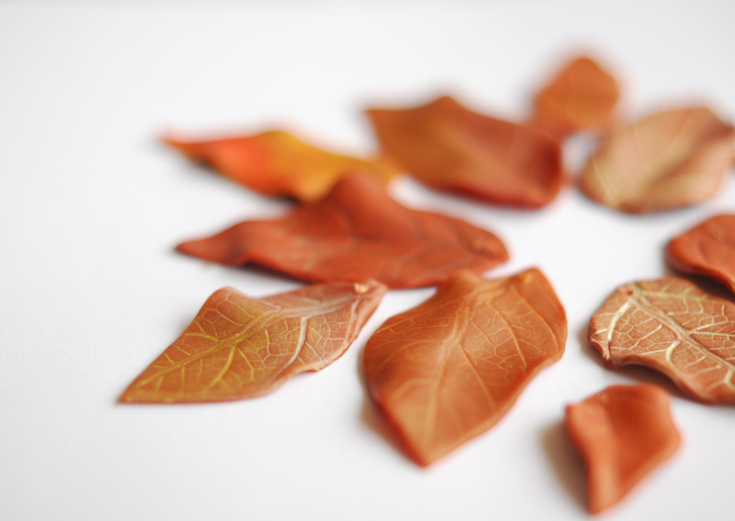 Dozen of leaf beads, drilled and painted. For your creativity.  Different shades of brown - WoodlandHoney