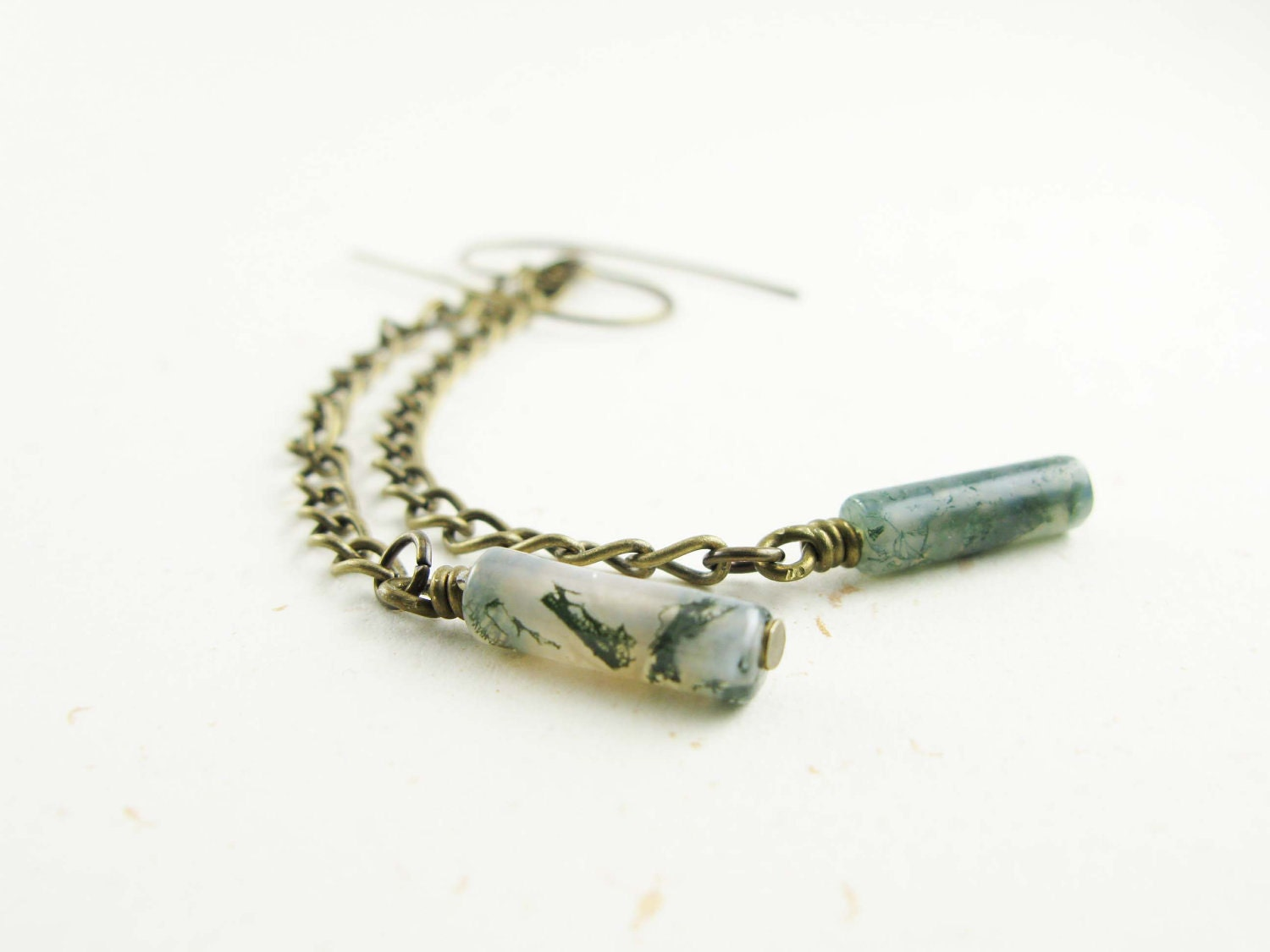 Brass chain & moss agate earrings - moss green, antiqued brass, free shipping - mejjewelry