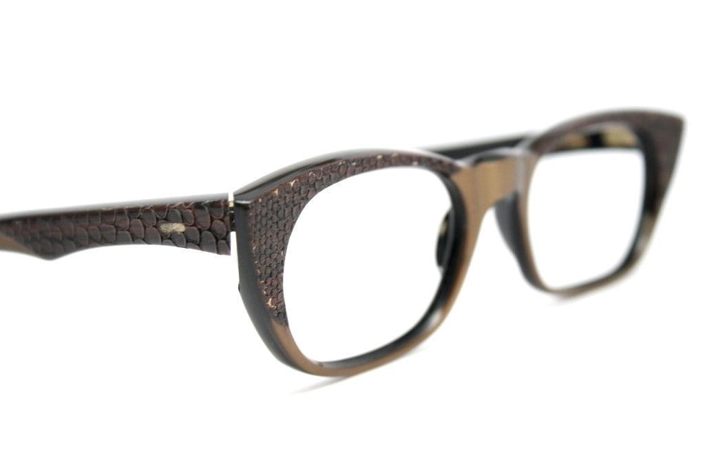 cat eye glasses vintage reptile raybert cateye frames - VintageOpticalShop