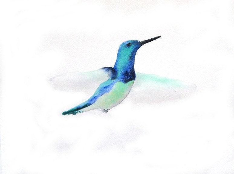 Flutter - Blue Green Hummingbird -   Art Print - paintedbliss