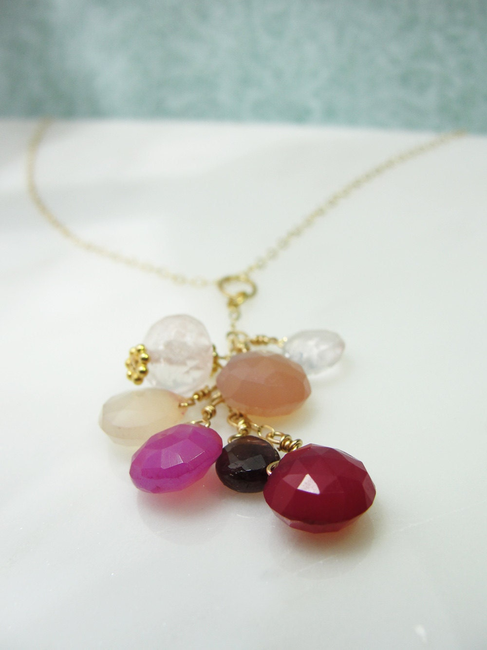 Pink chalcedony, garnet and quartz gold necklace