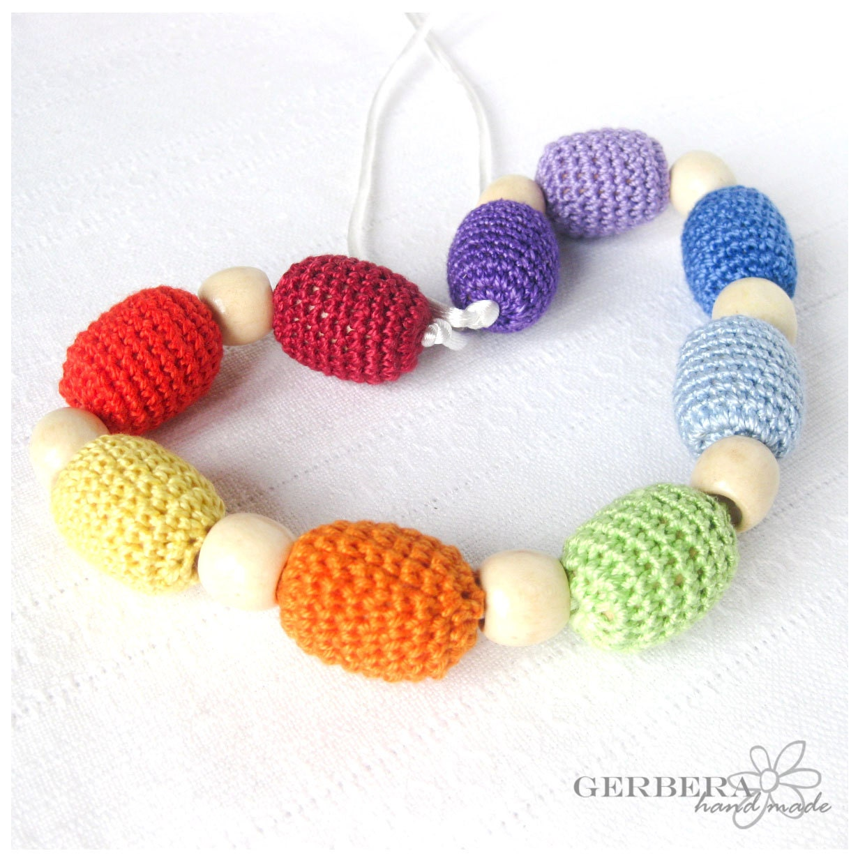 Nursing necklace/ Teething necklace for Mom to Wear and baby -rainbow colors 100% cotton wood beads