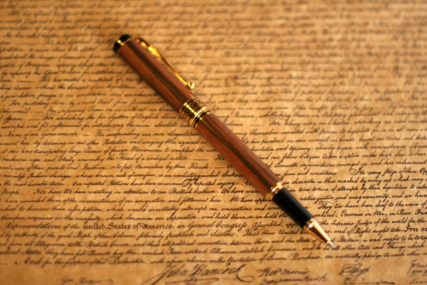 Rollerball Pen with Macassar Ebony Wood Mont Blanc Black Ink Made to