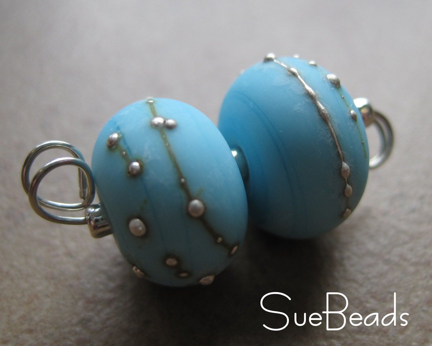 Baby blue lampwork beads