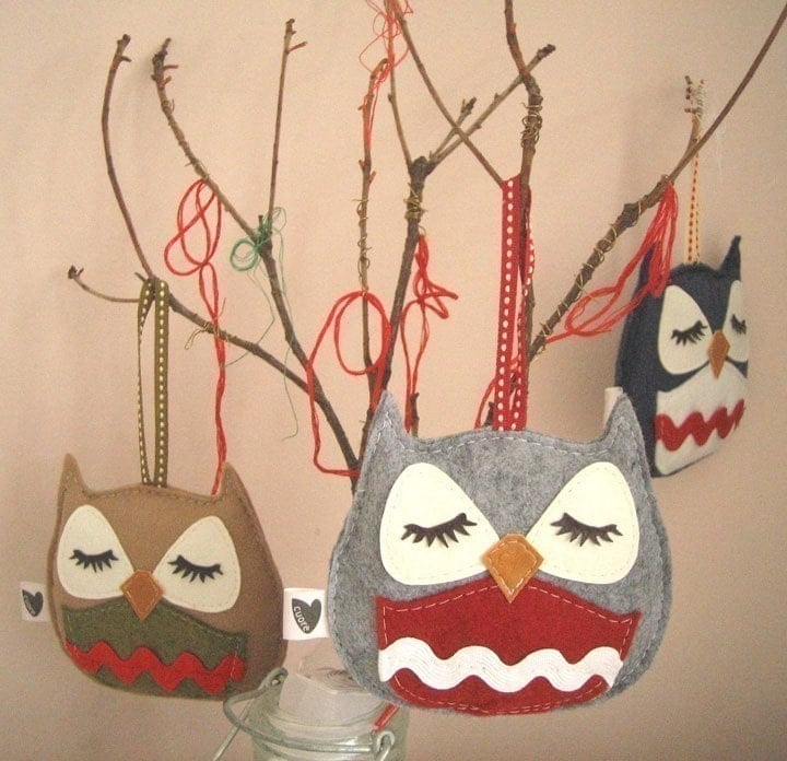 Chewy the Owl Holiday Tree Wool Felt Applique Decorative Ornament