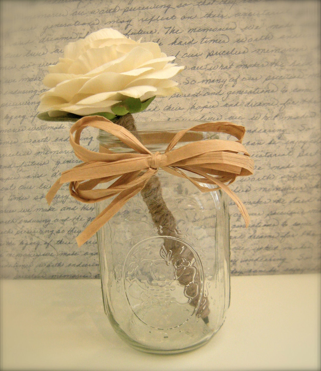 Madison Flower Pen with Vintage Mason Jar - Your Choice of Flower