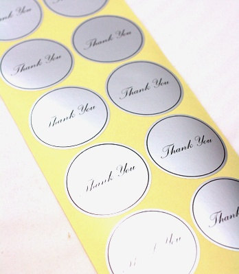7 THANK YOU Silver Seal Sticker - 45 x 45mm