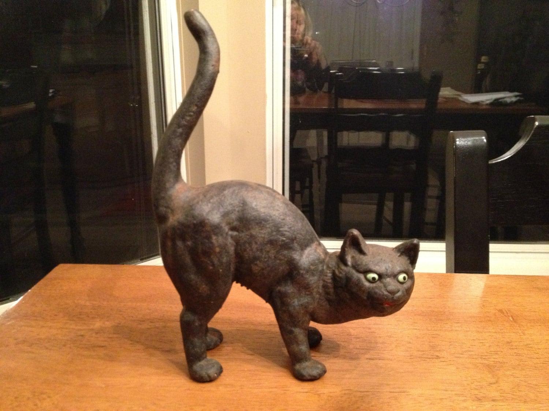 Cast Iron Black Cat Doorstop - HighleyVintage