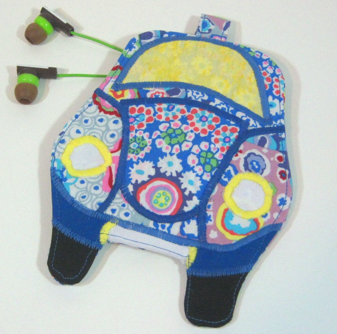 VW Beetle Bug Coin Purse, Ear Bud/ Earphone Pouch,  Binky Bag-- Appliqued Zipper Pouch- Psychedelic Blue
