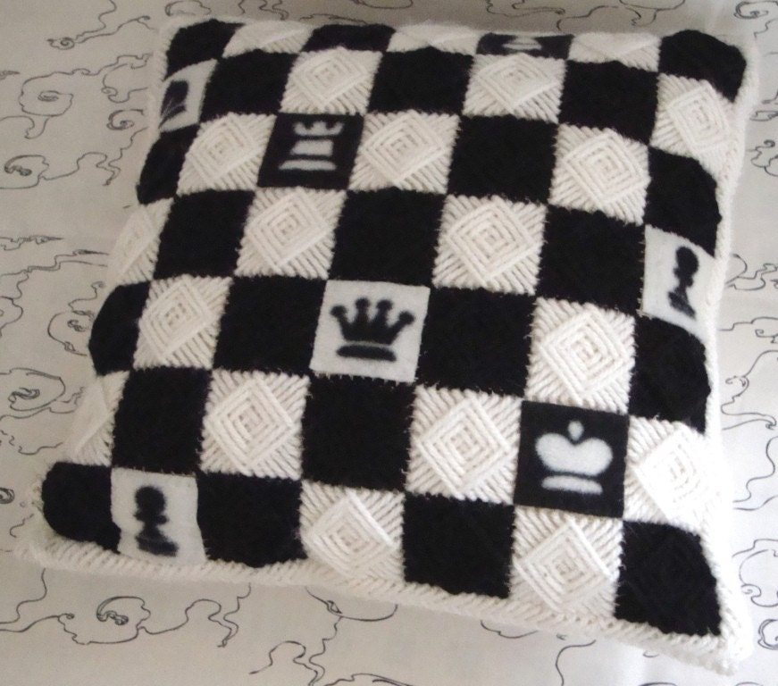 Needlepoint Handmade Pillow Cover with Black and White Chessmen and Squares. Chess Gamers / Shop Early for Christmas