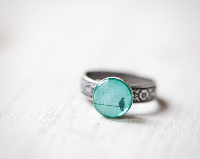 Mint bird ring - Winter jewelry - Pastel trend - Adjustable ring (R040) - BeautySpot