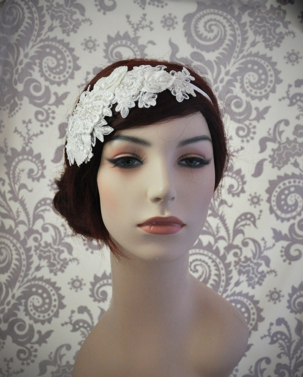 Lace Headpiece, Bridal Hair Accessories, Lace Headband, Bridal headband, Beaded Lace Hair Piece, white, ivory
