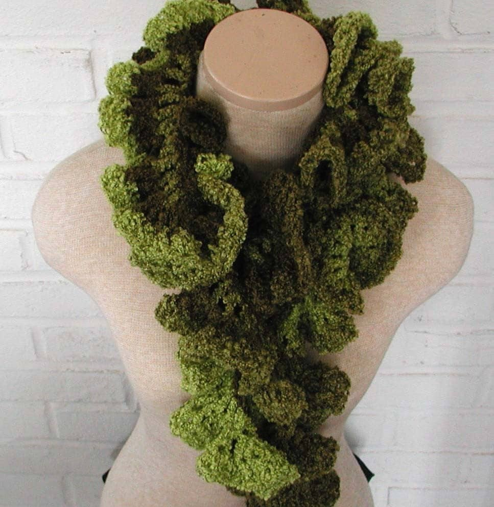 Olive Green Crochet Ruffle Scarf