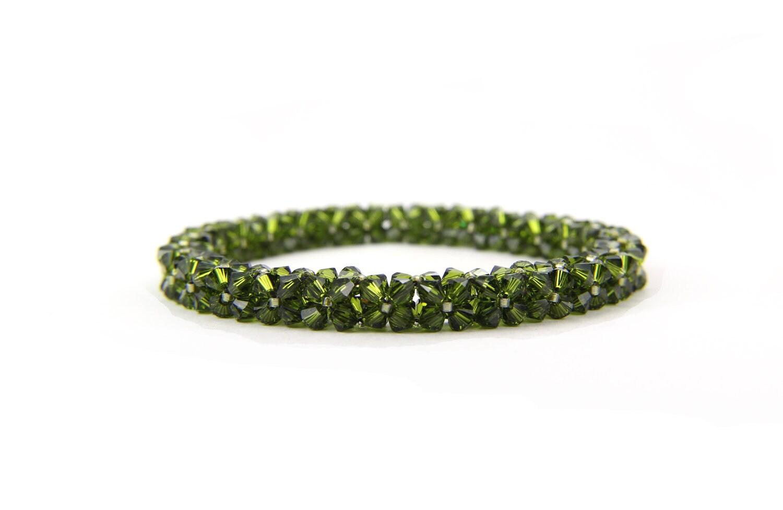 Olive Green Swarovski Crystal Bangle Bracelet - Thebracelettree