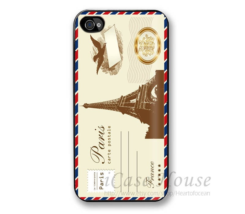 iPhone 4 Case, Eiffel Tower Post Card iPhone 4 /4s/4g cases, iPhone 4 Hard Case,Cell Phone Cases