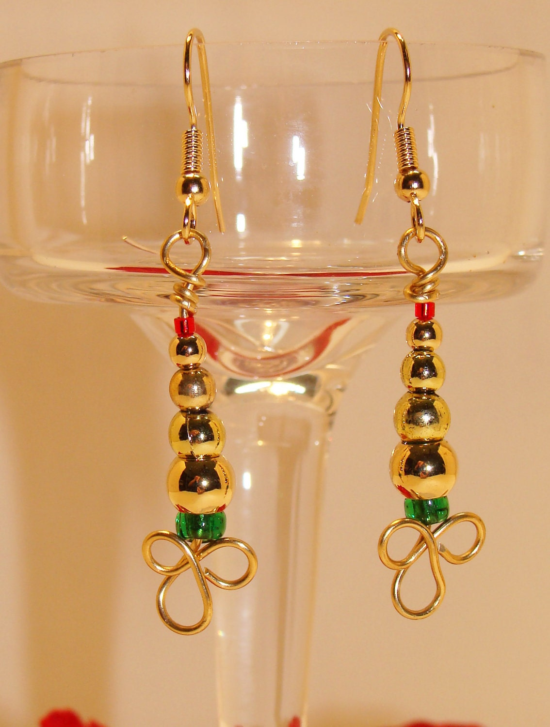 Goldtone Christmas Tree Earrings