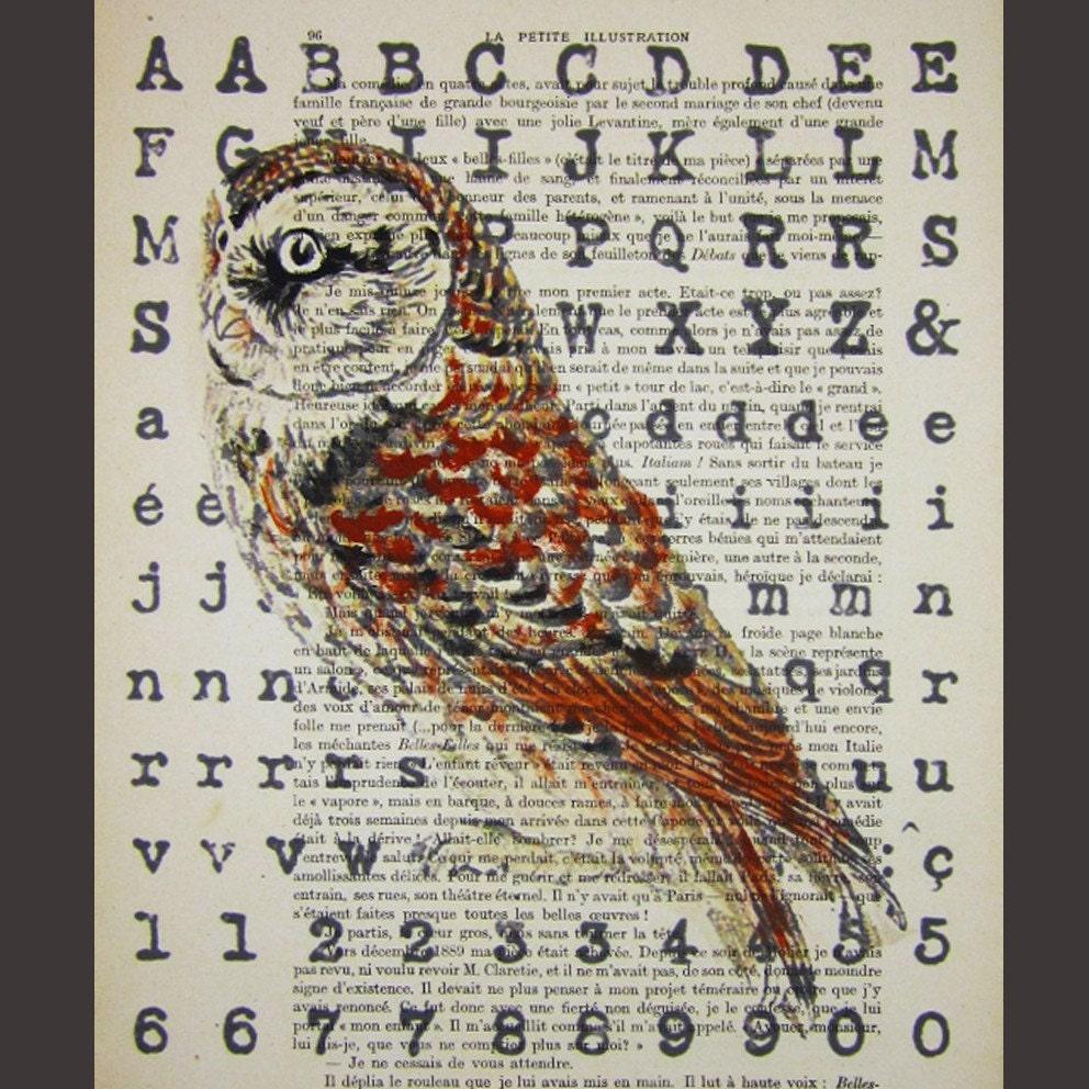 Alphabet owl- ORIGINAL ARTWORK Mixed Media, Hand Painted  on 1913 famous Parisien Magazine 'La Petit Illustration' by Coco De Paris