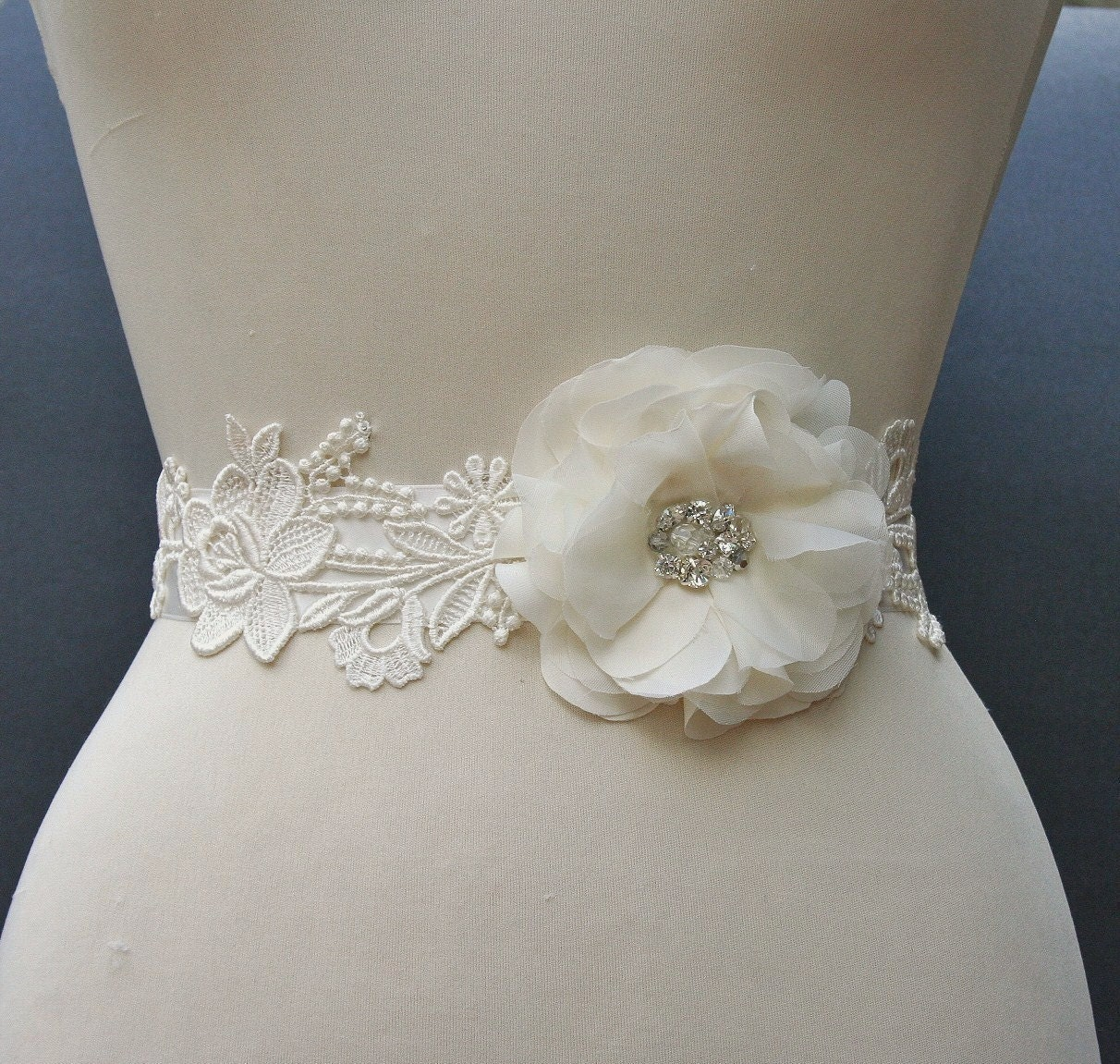 Ivory Bridal Sash, Wedding Belt, Satin Ribbon Bridal Sash, Beaded Flower Wedding Sash, Rhinestone Bridal Sash
